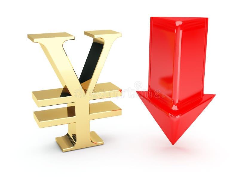 Gouden Euro Symbool En Benedenpijlen Royalty-vrije Stock Afbeelding