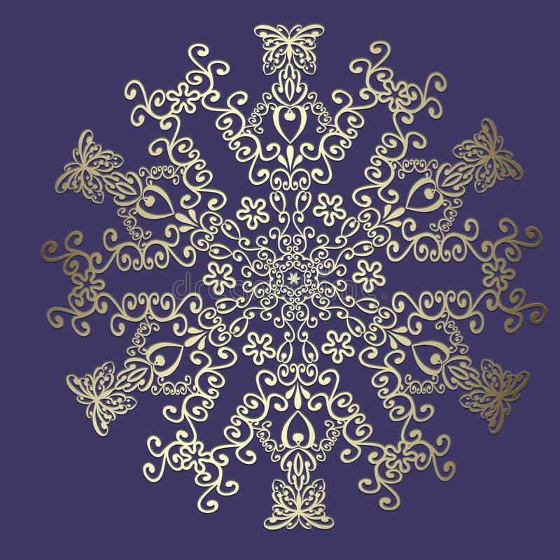 Gouden flural ornament op een purpere achtergrond royalty-vrije illustratie