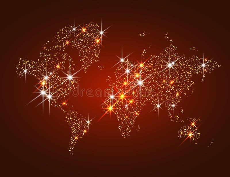 Gouden fonkelende wereldkaart royalty-vrije stock foto