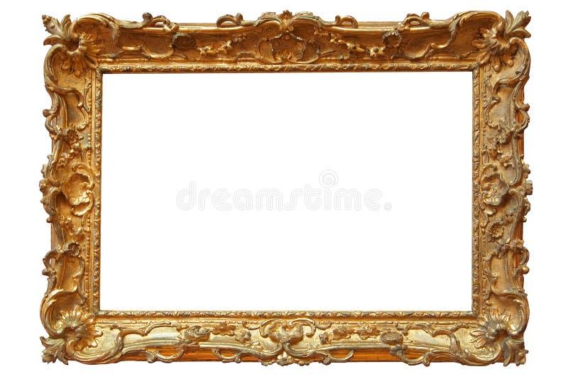 Gouden fotoframe stock afbeeldingen