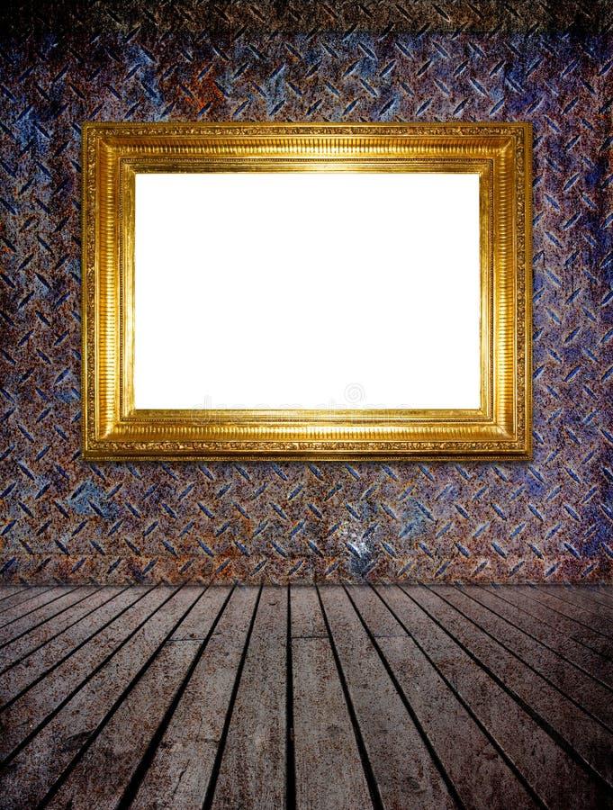 Gouden fotoframe (het knippen weg) stock foto