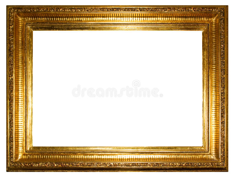 Gouden fotoframe (het knippen weg) stock afbeeldingen