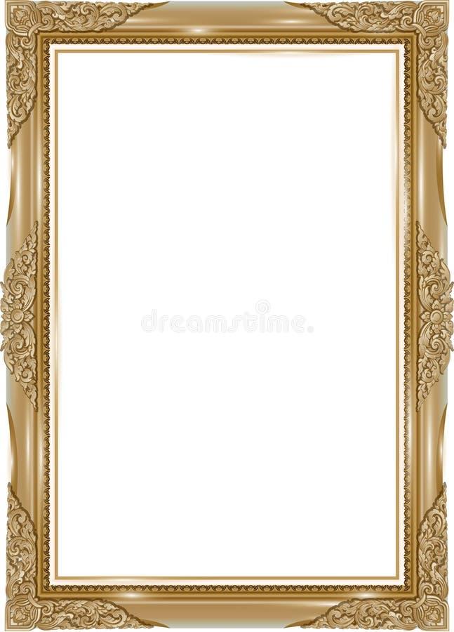 Gouden fotokader met de lijn van hoekthailand bloemen voor beeld, Vector het patroonstijl van de ontwerpdecoratie het ontwerp van royalty-vrije illustratie
