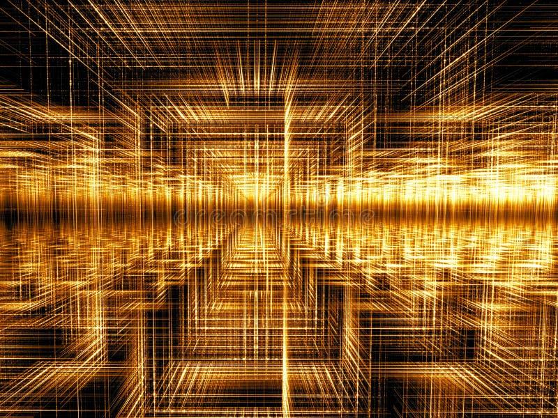 Gouden fractal abstract digitaal geproduceerd beeld als achtergrond royalty-vrije illustratie