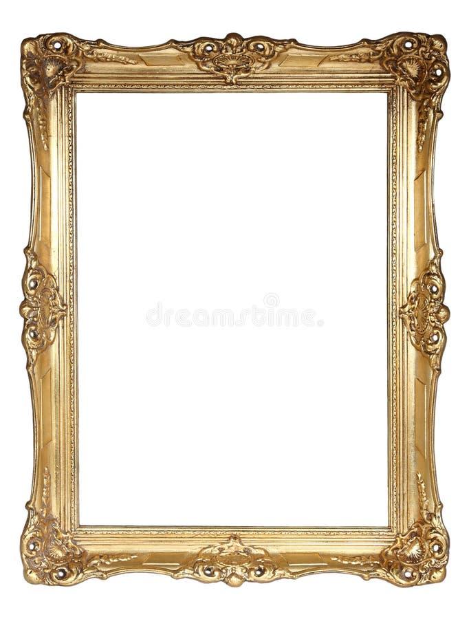 Gouden frame dat op witte achtergrond wordt geïsoleerdi royalty-vrije stock foto