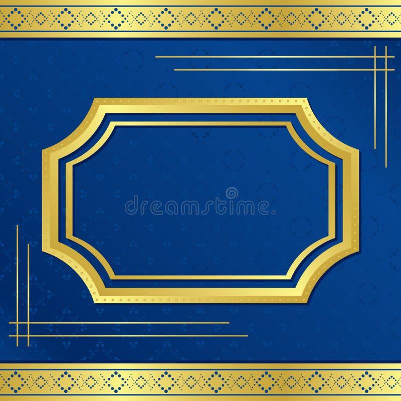 Gouden frame met blauwe achtergrond stock illustratie