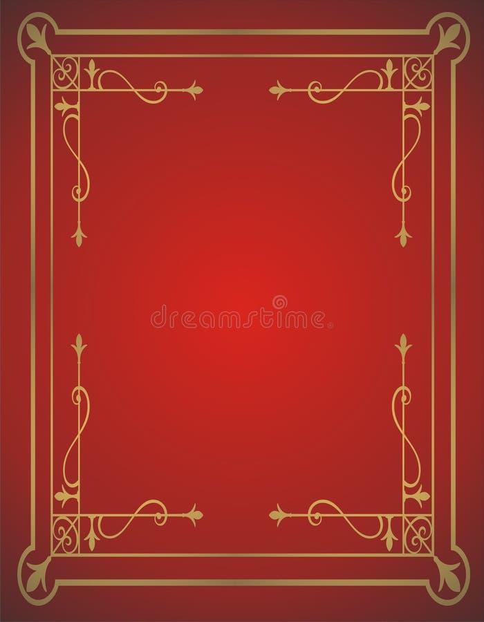 Gouden frame op rode achtergrond stock illustratie
