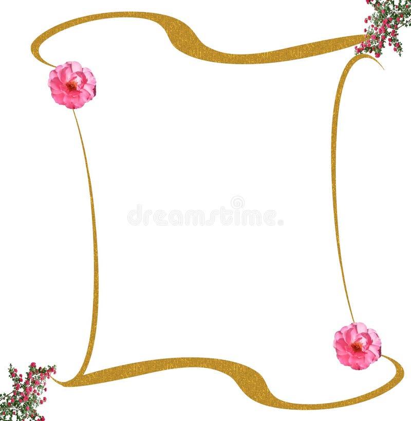 Gouden frame rozenachtergrond royalty-vrije illustratie