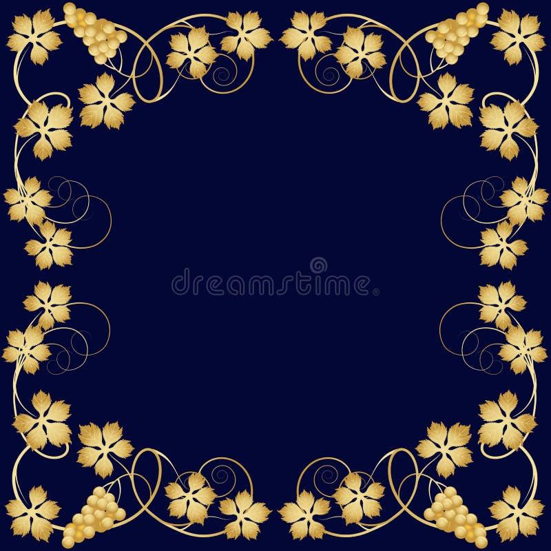 Gouden frame van wijnstok stock illustratie