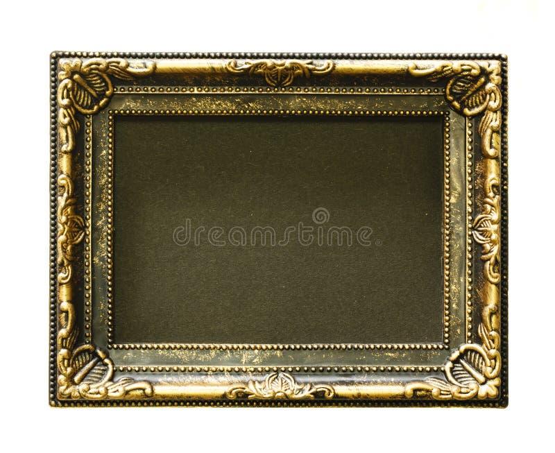 Gouden frame Gouden/vergulde kunsten en ambachtenpatroonomlijsting Geïsoleerd op wit royalty-vrije stock foto