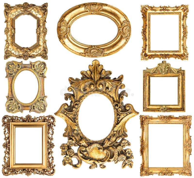 Gouden frames barokke stijl antieke voorwerpen Uitstekende inzameling stock foto