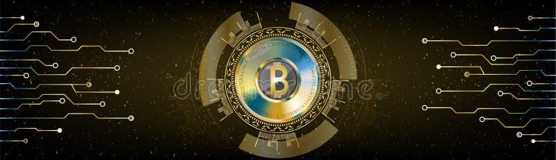 Gouden Futuristisch Bitcoin-concept De ruimte kosmische achtergrond w van HUD royalty-vrije illustratie