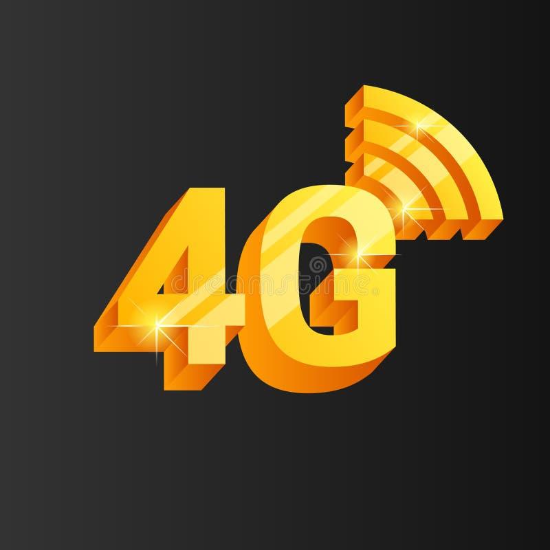 Gouden 4G verbindingspictogram vector illustratie
