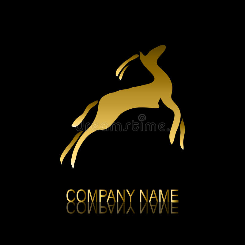 Gouden gazellesymbool stock illustratie