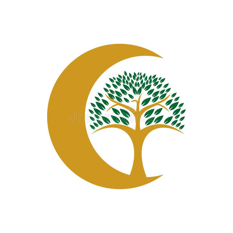 Gouden Geïsoleerd Crescent Moon Nature Tree Symbol royalty-vrije illustratie