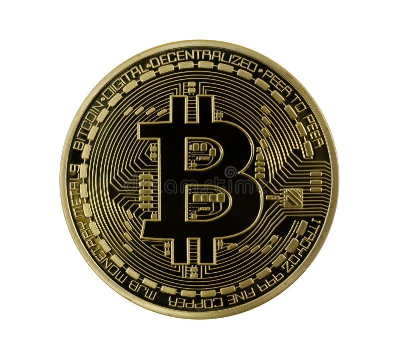 Gouden geïsoleerde Bitcoins (digitaal virtueel geld) royalty-vrije stock foto