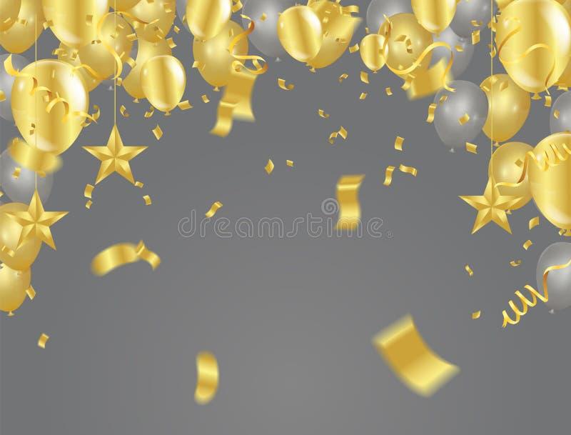 Gouden geïsoleerde confettien Feestelijke achtergrond Vector Illustratio stock illustratie