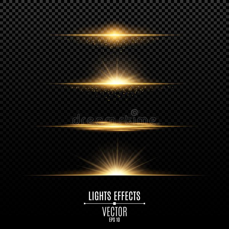 Gouden geïsoleerde lichteffecten voor een transparante achtergrond Heldere flitsen en glans van gouden kleur Gouden stralen van l vector illustratie