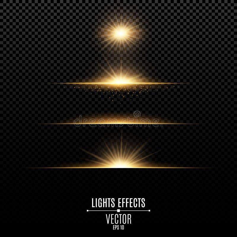Gouden geïsoleerde lichteffecten voor een transparante achtergrond Heldere flitsen en glans van gouden kleur Heldere stralen van  stock illustratie