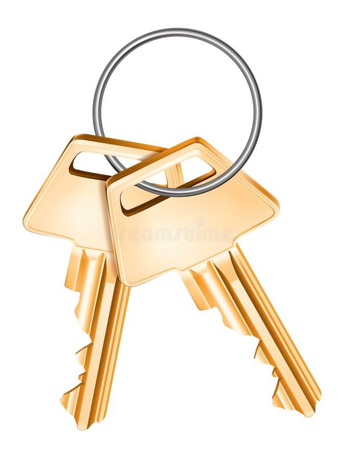 Gouden geïsoleerde sleutels, vector illustratie