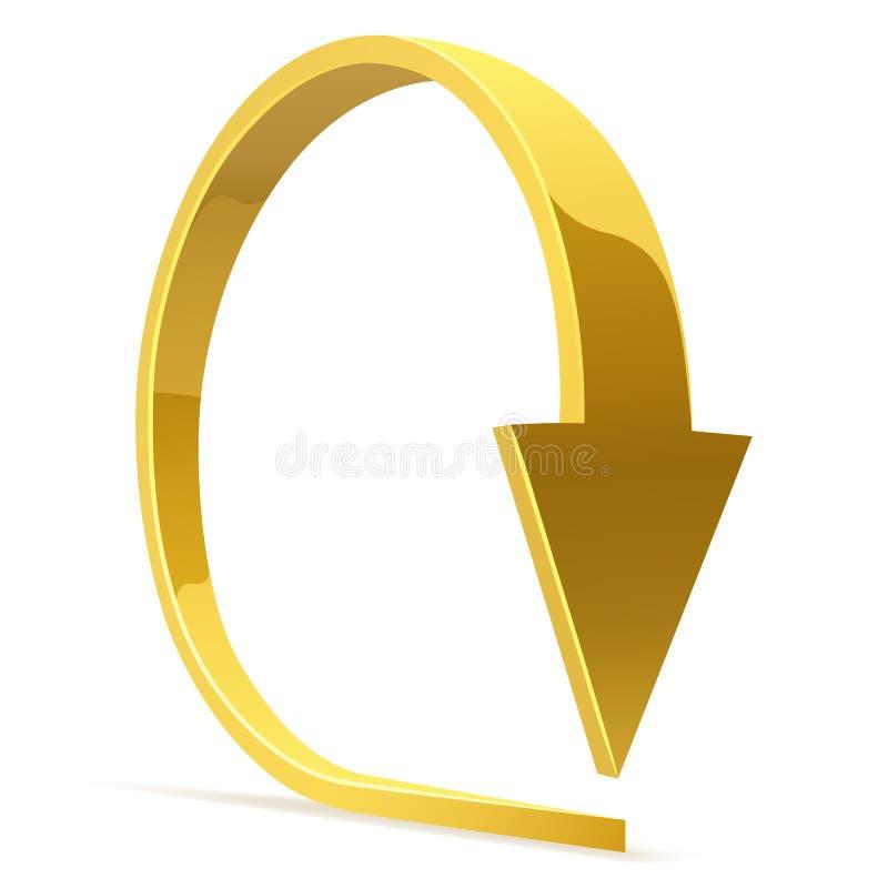 Gouden gebogen pijl vector illustratie
