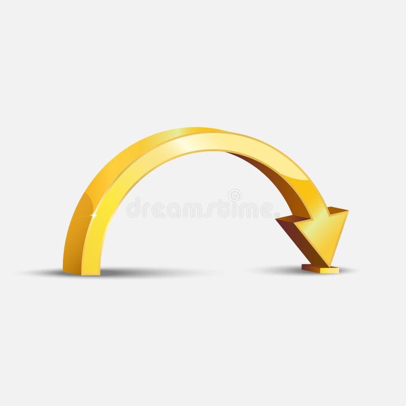 Gouden gebogen pijl stock illustratie
