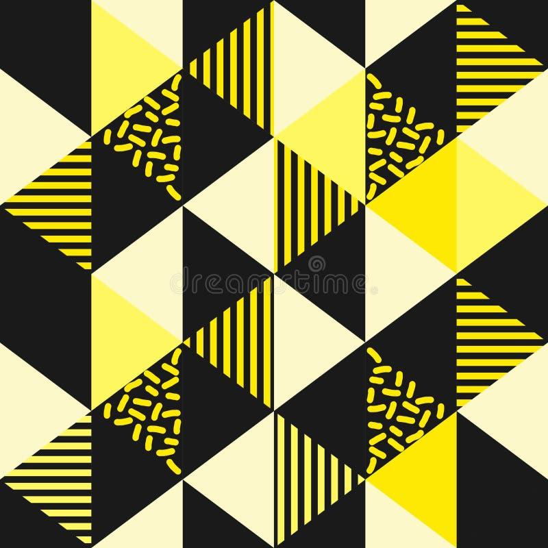 Gouden geel naadloos geometrisch driehoekspatroon royalty-vrije illustratie