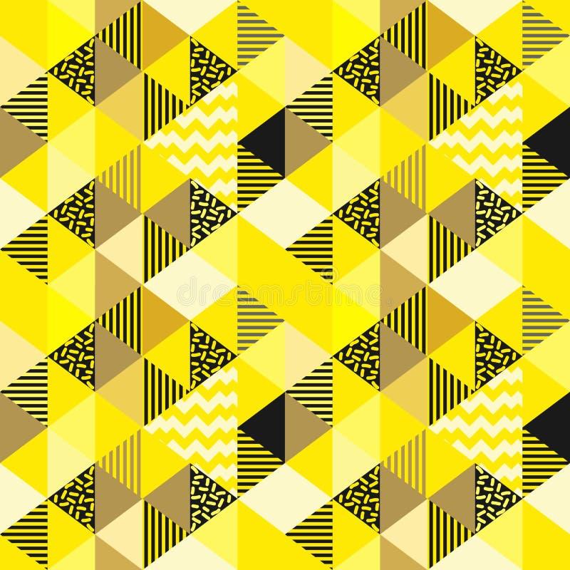 Gouden geel naadloos geometrisch kleurrijk driehoekspatroon vector illustratie