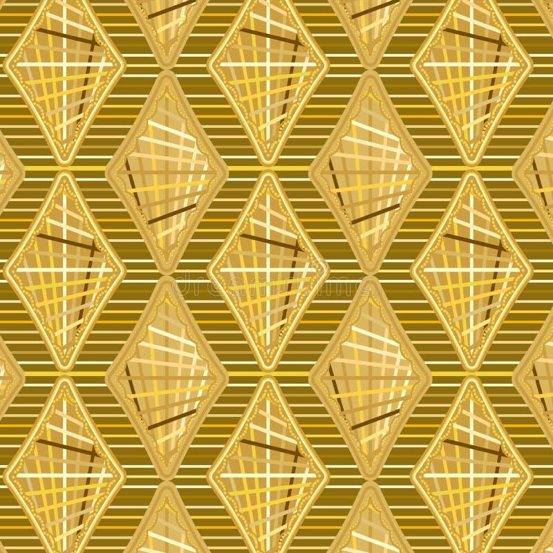 Gouden Gekleurde diamanten en strepen in een het herhalen koel patroon vector illustratie