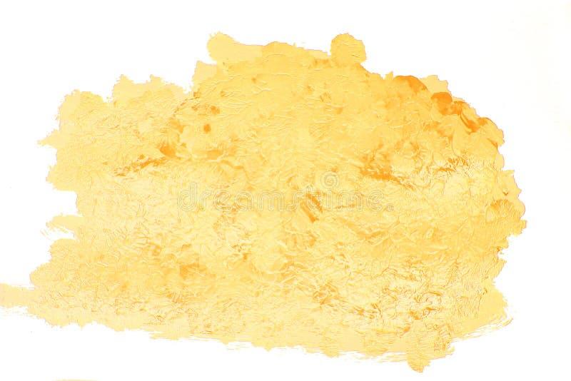 Gouden gele acrylvlek stock foto