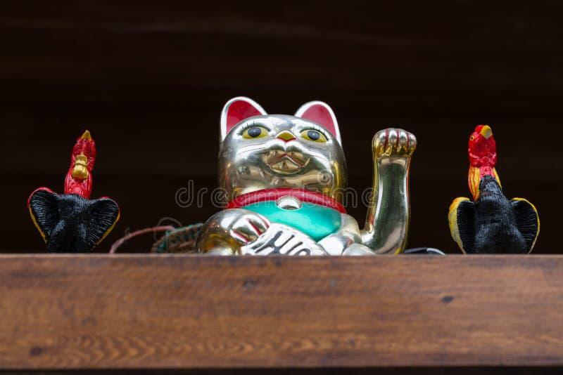 Gouden gelukkige kat en haan twee royalty-vrije stock foto
