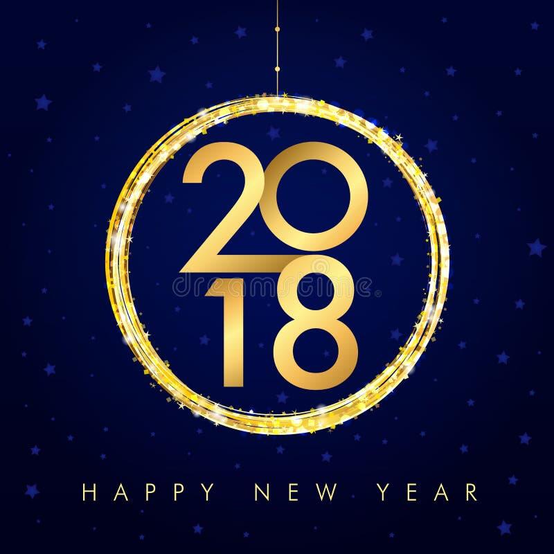 gouden gelukkige nieuwe het jaarkaart van 2018 royalty-vrije illustratie