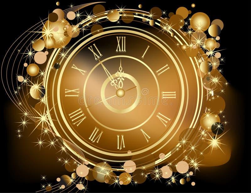 Gouden Gelukkige Nieuwjaarachtergrond stock illustratie