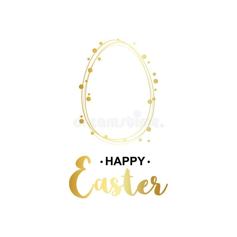 Gouden gelukkige Pasen-kaart vector illustratie