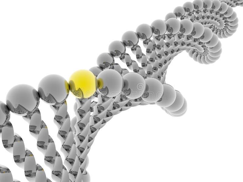 Gouden gen in DNA stock illustratie