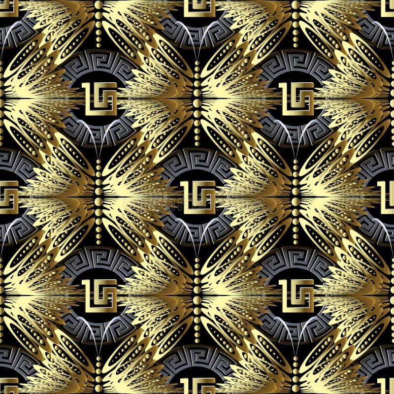 Gouden geometrisch 3d Grieks vector naadloos patroon Siertekst royalty-vrije illustratie