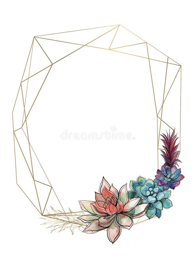 Gouden geometrisch kader met succulents uitnodiging Vector watercolor grafiek royalty-vrije illustratie