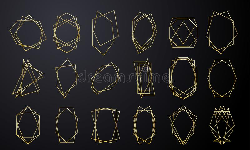Gouden geometrische kaders voor de kaartluxe van de huwelijksuitnodiging gouden in diamantvorm Vector gouden geometrische foliesa royalty-vrije illustratie