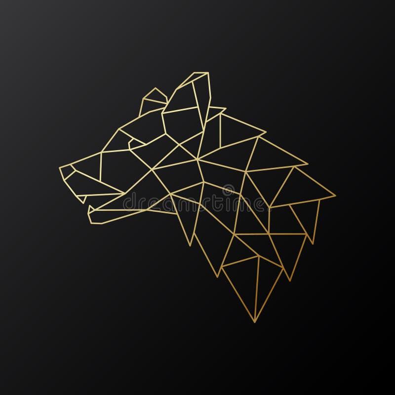 Gouden geometrische Wolfs hoofddieillustratie op zwarte achtergrond wordt geïsoleerd stock illustratie
