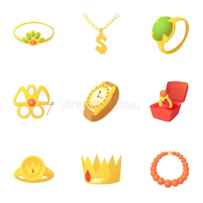 Gouden geplaatste juwelenpictogrammen, beeldverhaalstijl vector illustratie