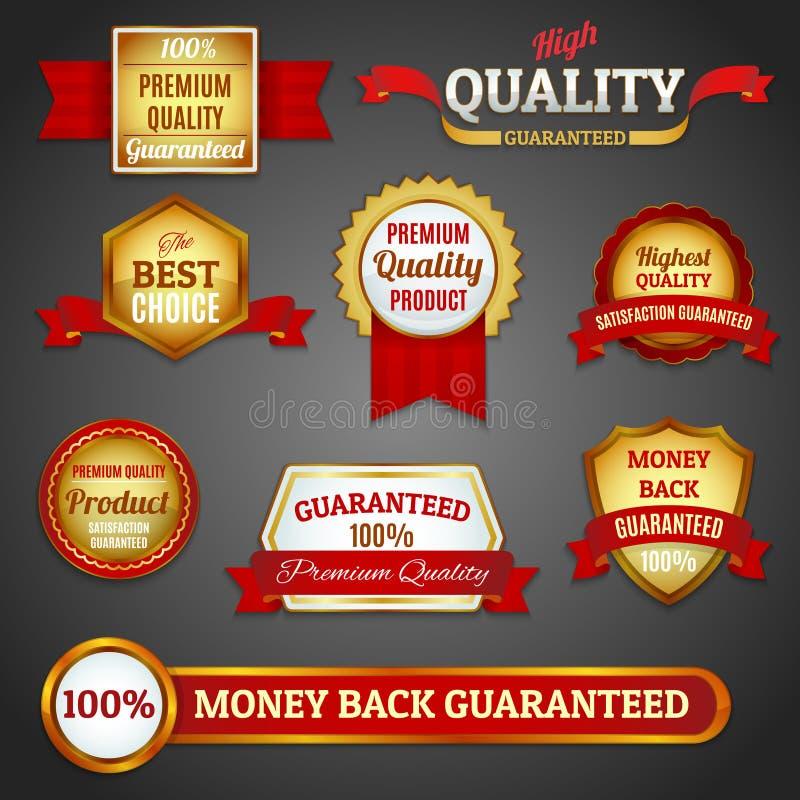 Gouden geplaatste kwaliteitslabels stock illustratie