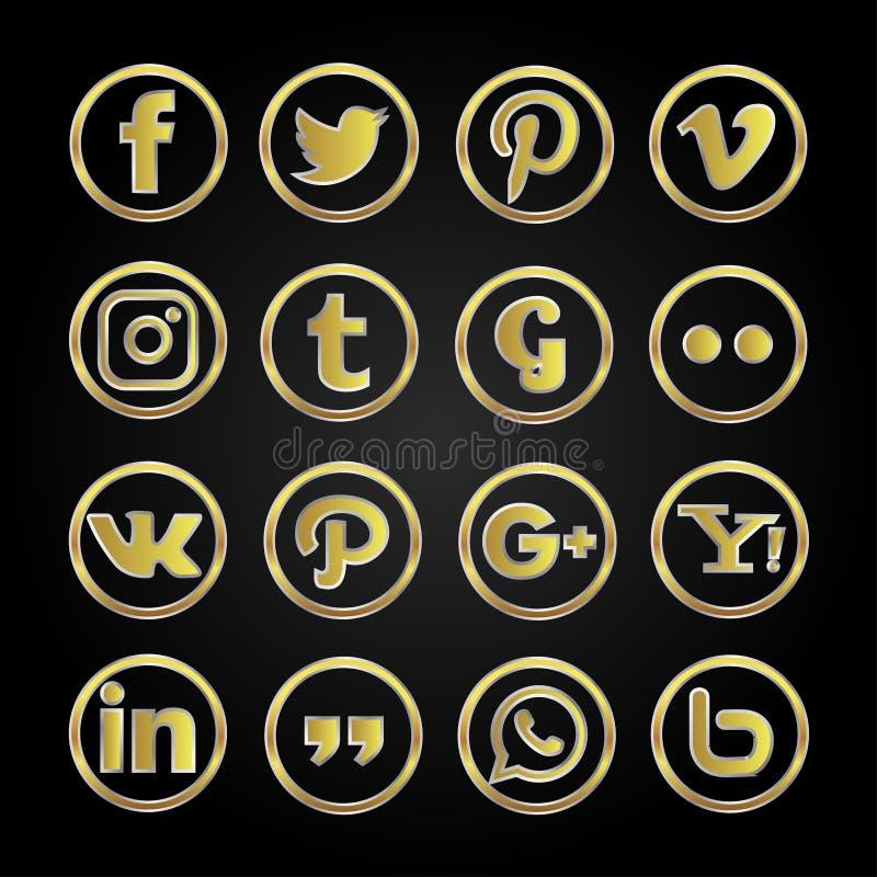 Gouden geplaatste pictogram sociale media stock illustratie