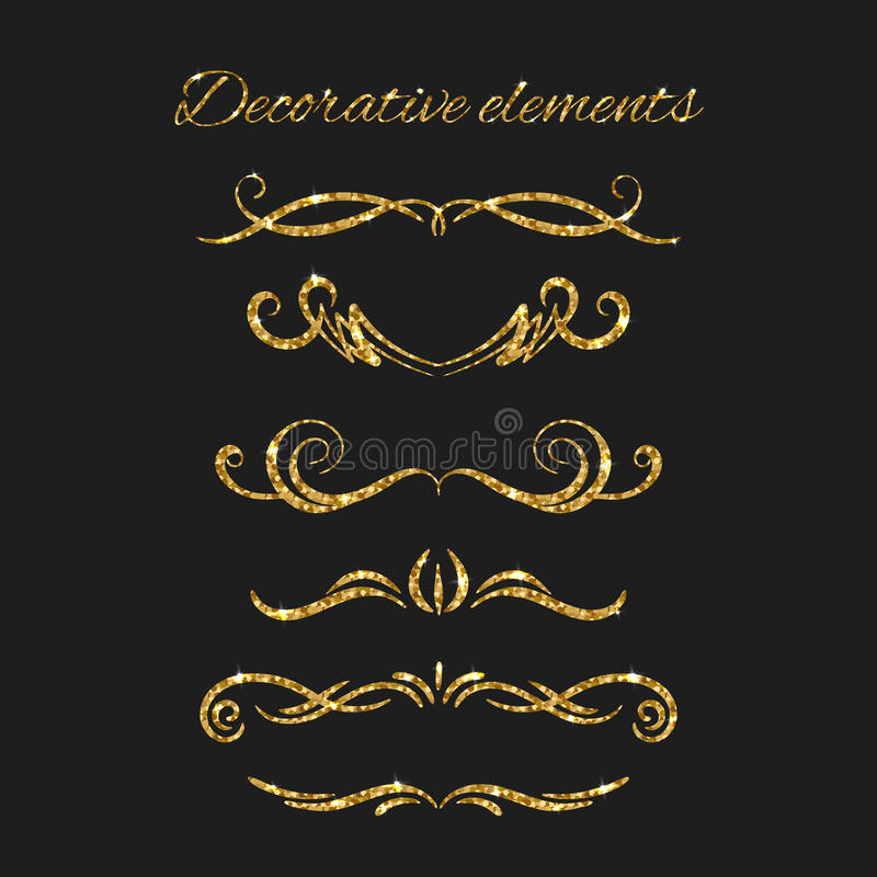 Gouden geplaatste tekstverdelers Sier Decoratieve Elementen royalty-vrije illustratie
