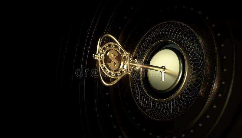 Gouden geraffineerde die sleutel met een dollarteken in een sleutelgat op een donkere abstracte achtergrond wordt opgenomen Het c royalty-vrije illustratie