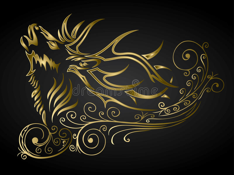 Gouden gesierde herten stock illustratie