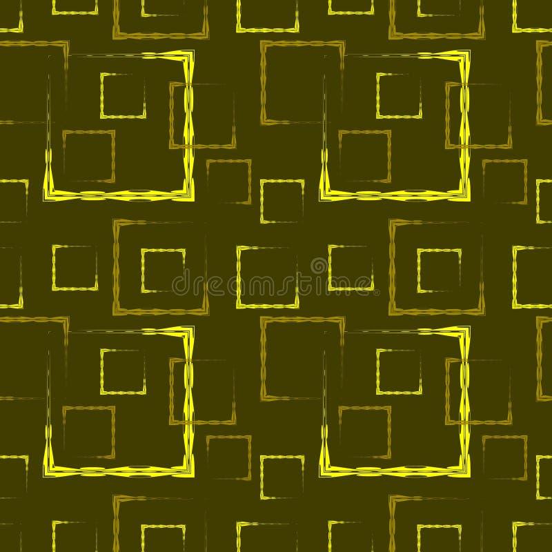 Gouden gesneden vierkanten en kaders voor abstract mosterdachtergrond of patroon royalty-vrije illustratie