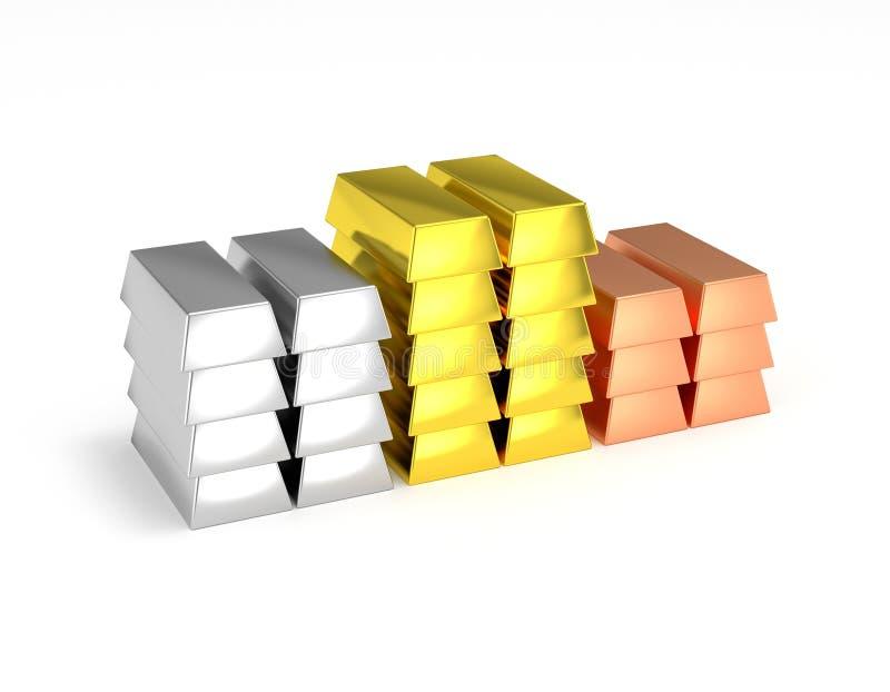 Gouden gestapelde het koperzilverstaven van het winnaarpodium vector illustratie