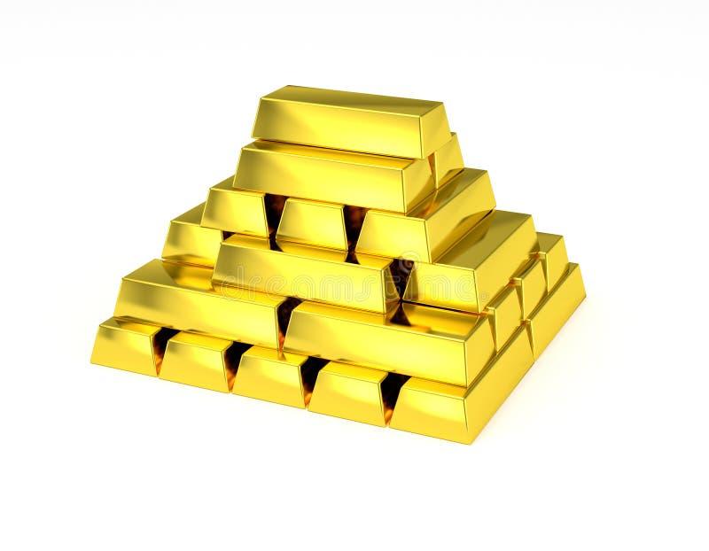 Gouden gestapelde piramidegoudstaven stock illustratie