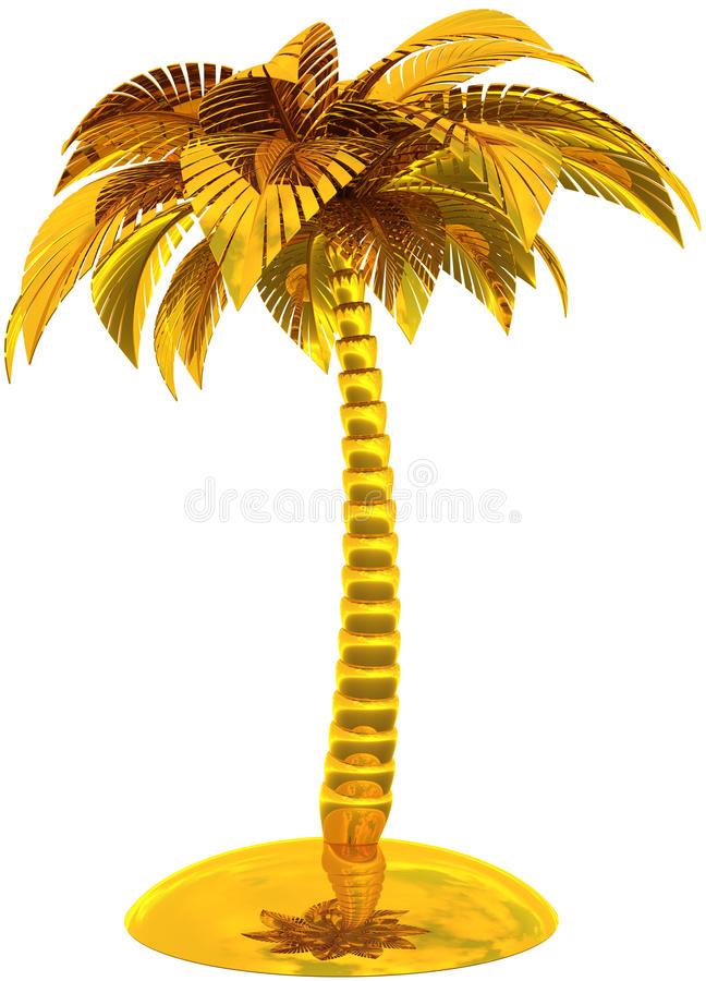 Gouden gestileerd palm tropisch eiland vector illustratie