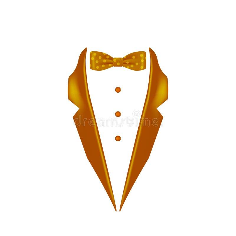 gouden gestippeld gekleurd de kraagpictogram van de vlinderdassmoking Element van het gelijk maken van menswear illustratie Grafi stock illustratie